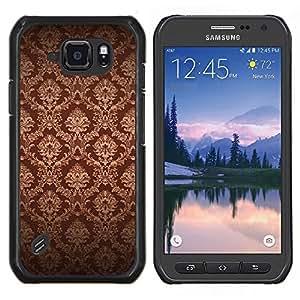 Eason Shop / Premium SLIM PC / Aliminium Casa Carcasa Funda Case Bandera Cover - Fondo de pantalla de Brown Bling Royal Vintage - For Samsung Galaxy S6 Active G890A