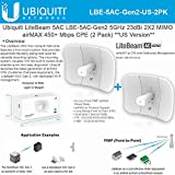 Ubiquiti LiteBeam Gen 2 LBE-5AC-Gen2-US 2X2 MIMO airMAX 5GHz 23dBi 450Mbps-2PACK