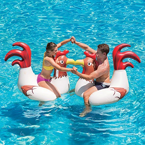 Play Day Chicken Fight Game With 2 Inflatable Chickens for Swimming Pool Fun, For Adults & Children, Measures 54.5' x 39.5' x 40'
