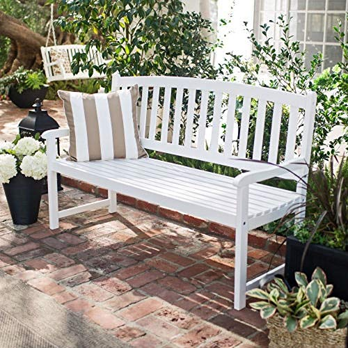 Slat Bench Back (5-Ft Wood Garden Bench with Curved Slat Back and Armrests in White New Perfect Beautiful Classic Elegant Useful CHOOSEandBUY)