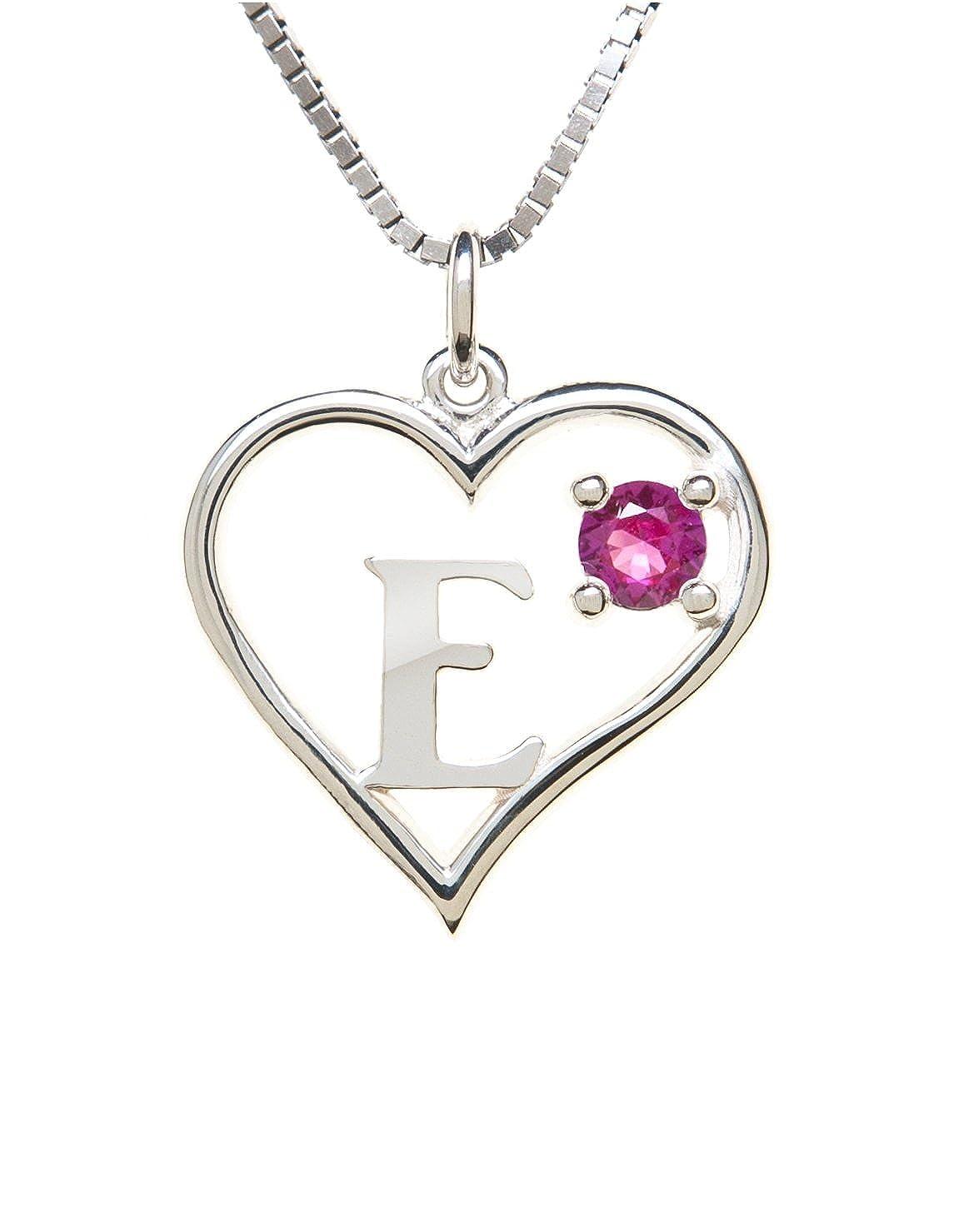 Sterling Silver Pendant Heart /& Letter E