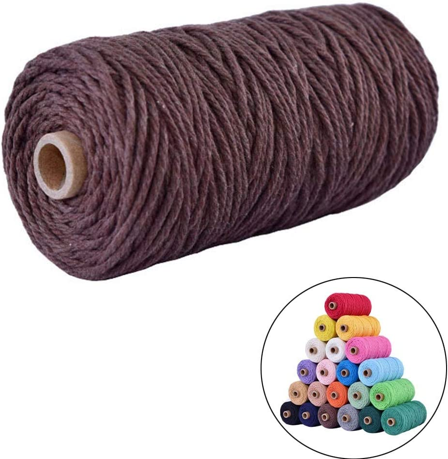 Brick red, 3mm109yards flipped 100/% Natural Macrame Cotton Cord,3mm x109 Yard Twine String Cord Colored Cotton Rope Craft Cord for DIY Crafts Knitting Plant Hangers Christmas Wedding D/écor