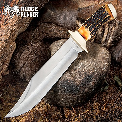 Ridge Runner Pronghorn Peak Bowie/Fixed Blade Knife - 420 Stainless Steel Clip Point - Simulated Staghorn/Deer Antler - Brass - Heavy Duty Nylon Belt Sheath - Outdoors Display Survival Farm ()