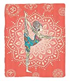 Chaoran 1 Fleece Blanket on Amazon Super Silky Soft All Season Super Plush Yoga Decor Collection Yoga Geometric Element Ornament Background Kaleidoscope Medallion Yoga India Picture Fabric Coral Pink