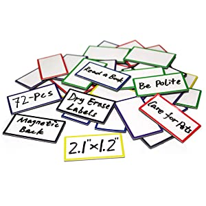 """ZHIDIAN 72-Pcs Magnetic Dry Erase Labels Name Plates Tags 2.1"""" x 1.2"""" - Colored Magnets for Whiteboard, Name Tags for Classroom, Fridge, Cabinet, 6 Colors"""