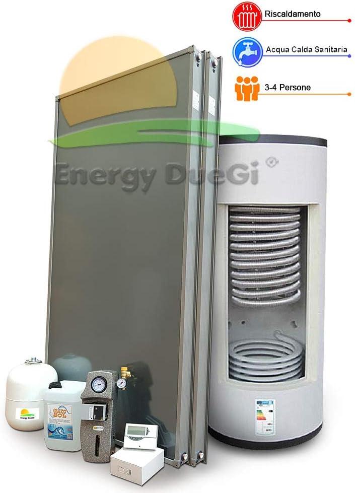 Kit sistema solar térmico para almacenamiento de agua de calefacción y producción de agua caliente sanitaria, 3-4 personas, termoacumulación combinada 300 litros
