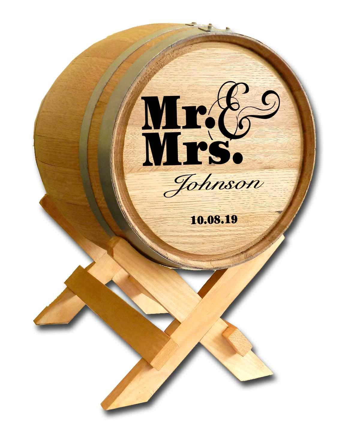 Personalized Mr. & Mrs. Wedding Barrel Card Holder
