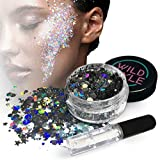 Facial Hair Styles For Long Faces - Cosmetic Glitter For Face, Body and Hair - Chunky Silver Holographic Glitter Mix - Versatile Festival, Rave and Beauty Makeup - Includes Long Lasting Fix Gel So You Can Shimmer Straight Out of the Box
