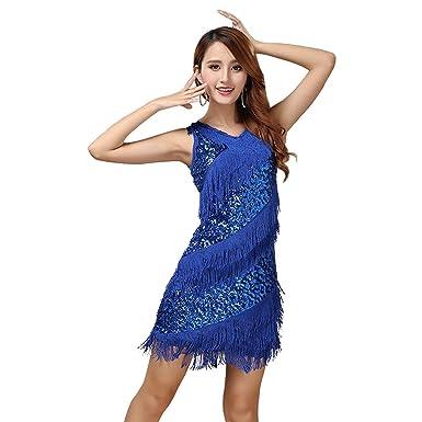 Vestido con Flecos Y Lentejuelas Vestido De Baile Latino Salsa ...