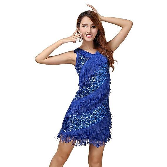 Vestido Con Flecos Baile Lentejuelas Y De Vestido Latino