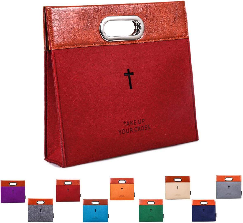 AGAPASS Bible Carrying Case, Handbag Felt Bible Cover for Women Men, Bible Tote Carrying bag, Zipper Bible briefcase, Leather Tote Church Study bag Case, (Medium, Red)