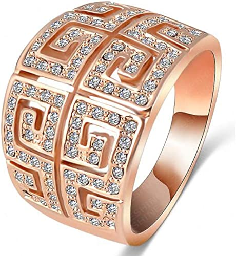 Rose Gold Filled Infinity Design CZ Lined Wide Band Ring