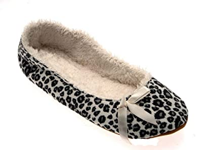 3c40ee0d8b LD Outlet WOMENS SLIPPERS MULES WINTER LADIES SLIP ONS BOOTIES GREY LEOPARD  PRINT BALLET PUMPS FUR LINED SIZE UK 3/4: Amazon.co.uk: Shoes & Bags
