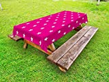 Ambesonne Hot Pink Outdoor Tablecloth, Symmetrical Pattern with White Stars Girlish Pattern Lovely Retro Party Tile, Decorative Washable Picnic Table Cloth, 58 X 104 inches, Hot Pink White