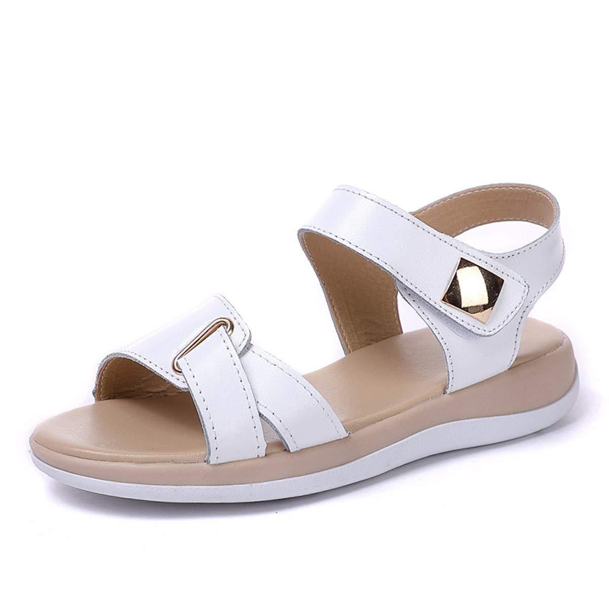 KPHY-Sommer - Sandaleen Frauen Flache Schuhe Leder Komfortabel Wild Lässig Studenten Frauen Schuhe.37 Weiße
