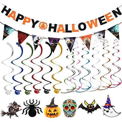 Slow Modern Dance Costumes (2 Sets Halloween Banner + 1 Set Halloween Swirl ( 6pcs ) Bunting Scare Halloween Party Creepy Creatures Swirl Ceiling Hanging Decoration Door Cover Garden Decoration)