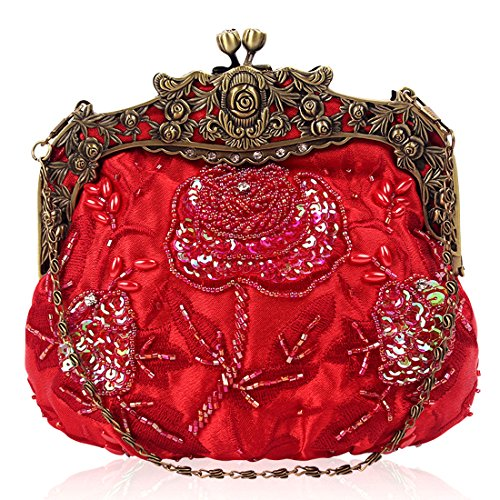 Satin Beaded Evening Clutch Womens Kissing Lock Floral Design Red Sequin Interior Handbag Vintage Rzdqz0Hx