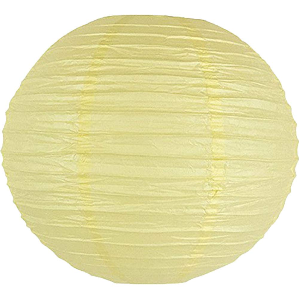 Just Artifacts 8-Inch Pale Yellow Chinese Japanese Paper Lanterns Set of 5, Pale Yellow
