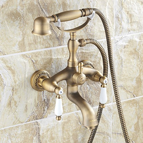 Antique copper bathtub faucet shower faucet bathroom shower faucet hot and cold water mixing valve set Hand spraying of telephone set (Copper Faucet Bath)