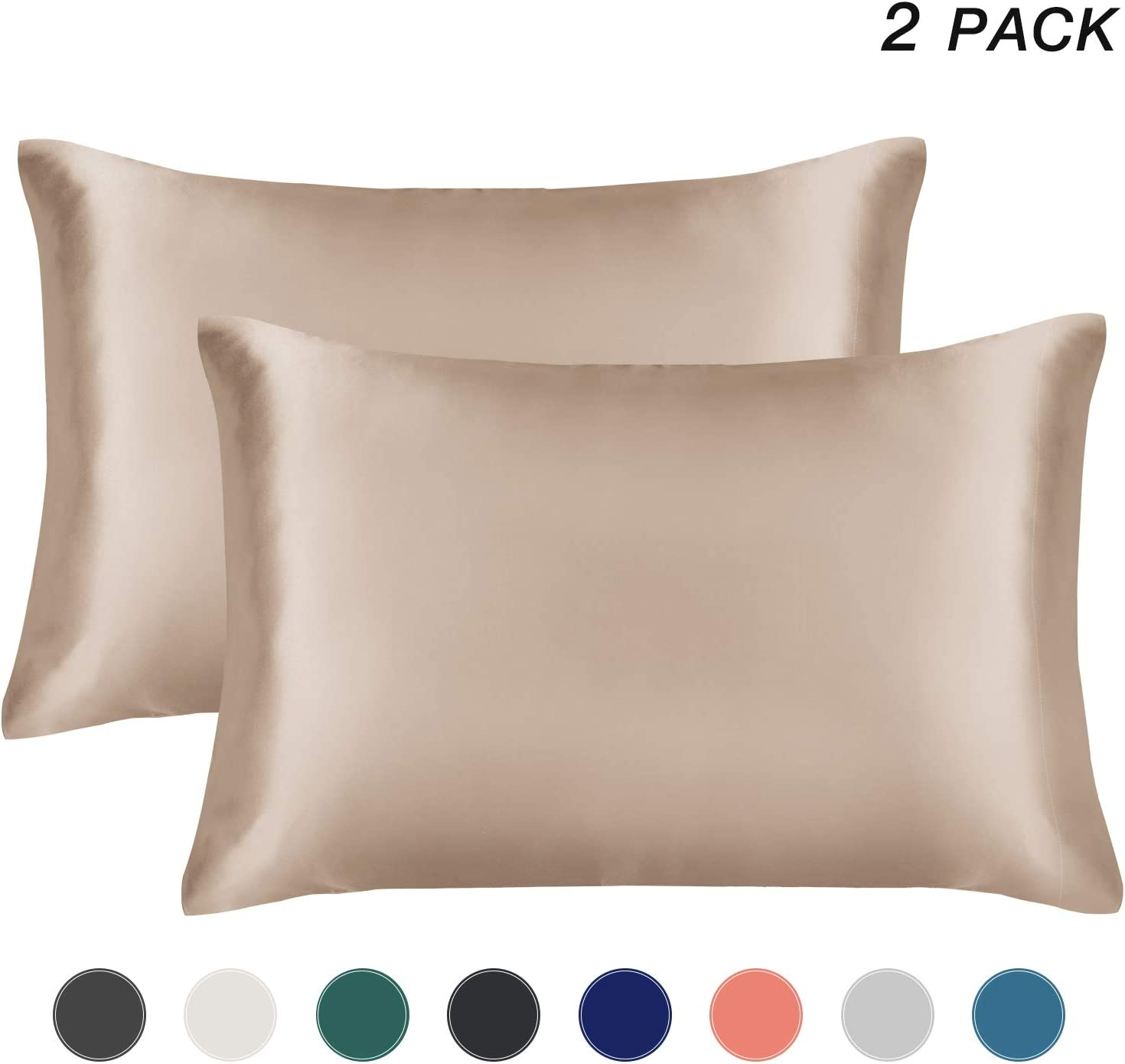 EXQ Home Satin Pillowcase for Hair and Skin, Camel Taupe Cooling Pillow Cases King Size Pillow Cases Set of 2 Pillow Covers with Envelope Closure (20x40 Inches)
