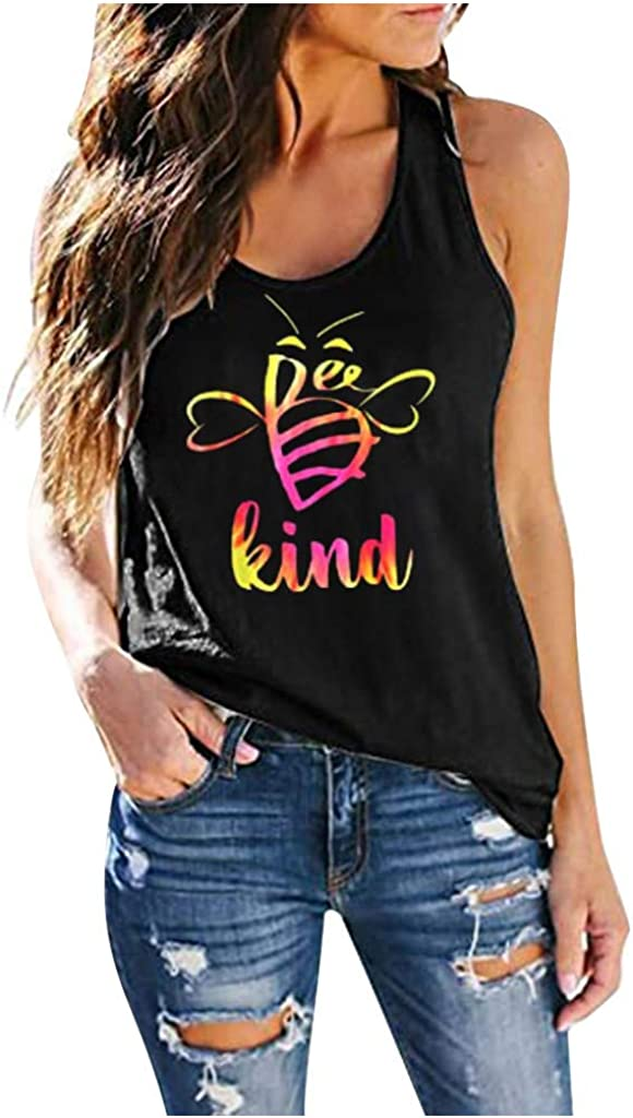 Wedday Kind Funny Graphic Tees Shirt Sleeveless Plus Size Womens Summer Casual Tops T-Shirts