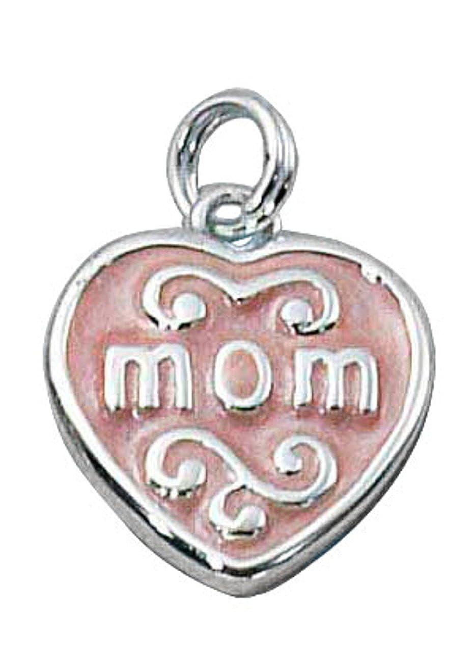 Sterling Silver Enameled Mom Heart Word Dangle Charm Bead For Bead Charm Bracelet