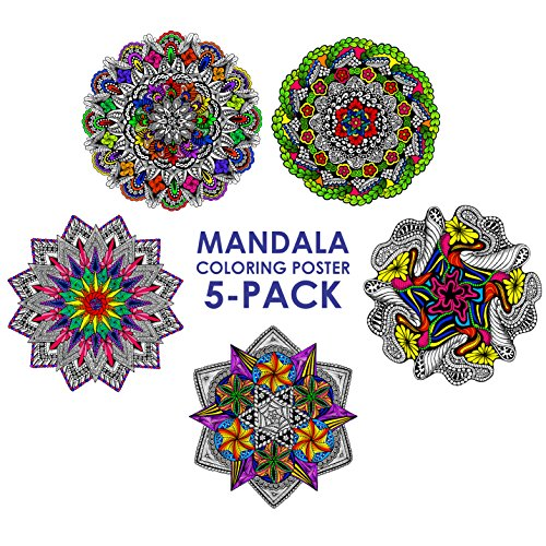 Mandala Coloring Poster 5-pack - 22 X 22 Inch Mandala Coloring Posters (Best Sellers) (Line Art Posters To Color)