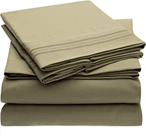 Mellanni Bed Sheet Set - Brushed Microfiber 1800 Bedding - Wrinkle, Fade, Stain Resistant - 4 Piece (Cal King, Olive Green)
