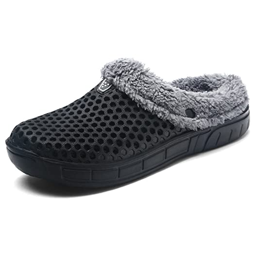 Unisex Fur Lined Clogs Slippers Winter Breathable Mesh Indoor Outdoor Walking Garden Shoes Warm Non-Slip House Shoes