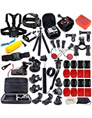 MOUNTDOG 65-in-1 Action Camera Accessories Kit for GoPro Hero 10 9 8 7 6 5 4 3 Hero Session 5 Black Accessory Bundle Set for Apexcam AKASO Dragon Touch Campark Apeman Yi VanTop