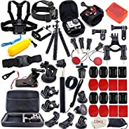 MOUNTDOG 65-in-1 Action Camera Accessories Kit for GoPro Hero 7 6 8 5 4 3 Hero Session 5 Black Accessory Bundl
