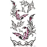 SPESTYLE impermeabile tatuaggio temporaneo atossico stickersBlack e fenice viola tatuaggi temporanei impermeabile e sudore