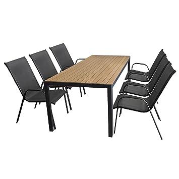 7 piezas. Jardín Jardín Mesa, marco de aluminio, mesa polywood ...