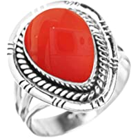 Genuine Carnelian 10x14mm Pear & .925 Silver Plated Handmade Solitaire Rings