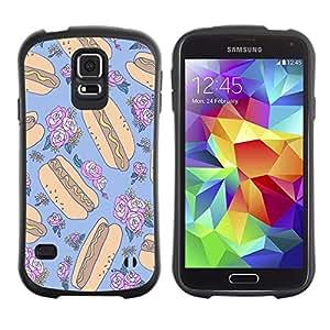 Suave TPU Caso Carcasa de Caucho Funda para Samsung Galaxy S5 SM-G900 / hotdog crazy floral random blue food / STRONG