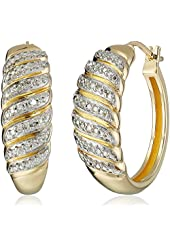 18k Yellow Gold Over Sterling Silver Diamond Hoop Earrings (1/5cttw, I-J Color, I2-I3 Clarity)