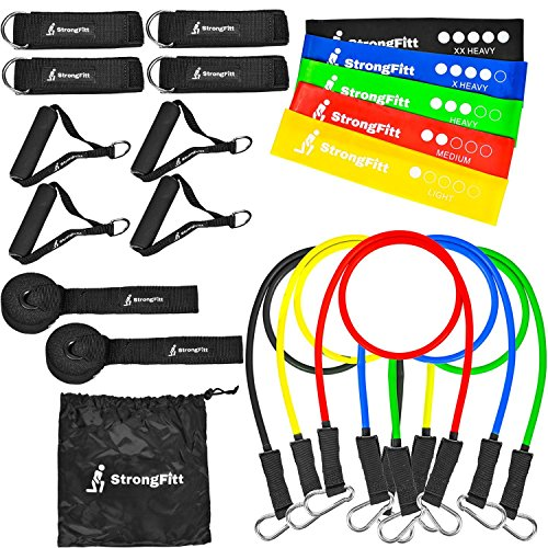 StrongFitt – Multi Family Pack – Enjoy Doing Exercise With A Buddy – Physical Therapy – Home Fitness – 21 Pieces – 5 Loop Bands, 5 Resistance Bands, 2-Pair Handles, 2-Pair Ankle Straps, 2-Door Anchor For Sale