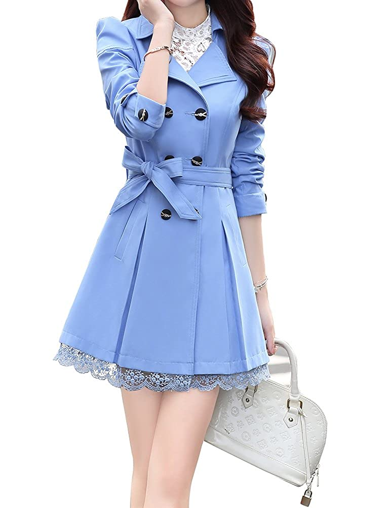 FV RELAY Womens Double-Breasted Bowknot Long Trench Coat with Belt and Lace Hem