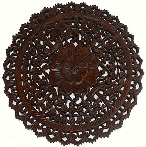 Tropical Bali Wood Carved Wall Art Plaque. Round Wood Wall Decor. Floral Wood Wall Hanging. 24 Espresso