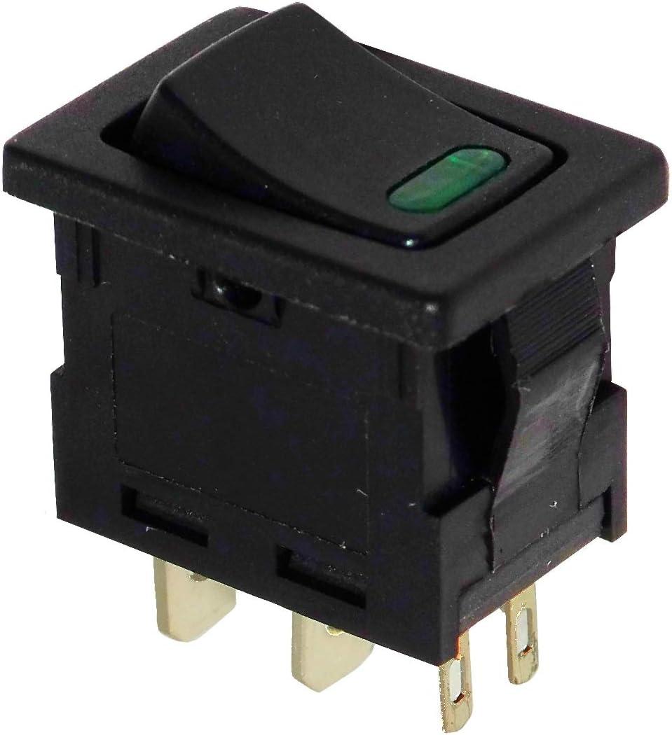 AERZETIX Interrupteur commutateur contacteur bouton /à bascule vert DPST ON-OFF 6A//250V 2 positions