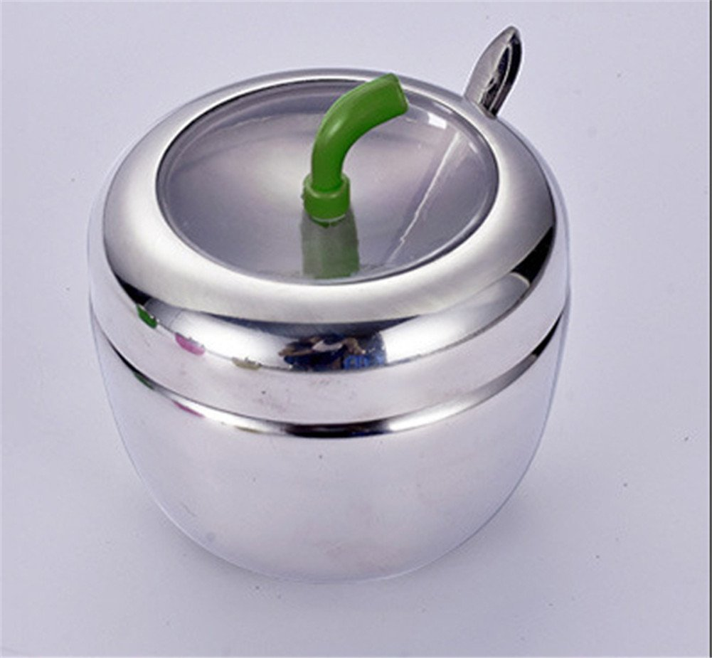 Interesting® Stainless Steel Apple-Shaped Seasoning Box Spice Jar With Spoon Kitchen Supplies