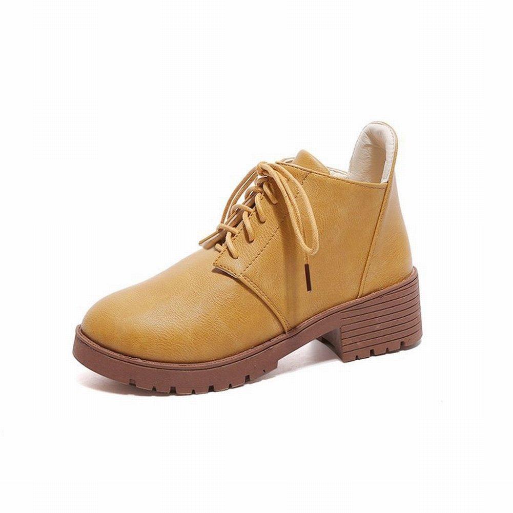 Modische Mode All Match Kurze Stiefel mit Dicken Runden Runden Runden mit Einem Einzigen Schuhe , Gelb , EUR37 - 78c1aa