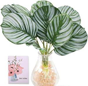 SNAIL GARDEN 2Pack Artificial Palm Plants, 12Pcs Faux Turtle Leaf Fake Tropical Palm Tree with Root-Imitation Greenery for Home Kitchen Office Jungle Theme Hawaiian Party Wedding Decorations