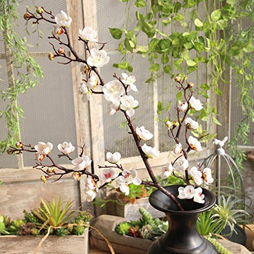 Flower ,YJYdada Artificial Silk Fake Flowers Plum Blossom Floral Wedding Bouquet Party Decor (White) -