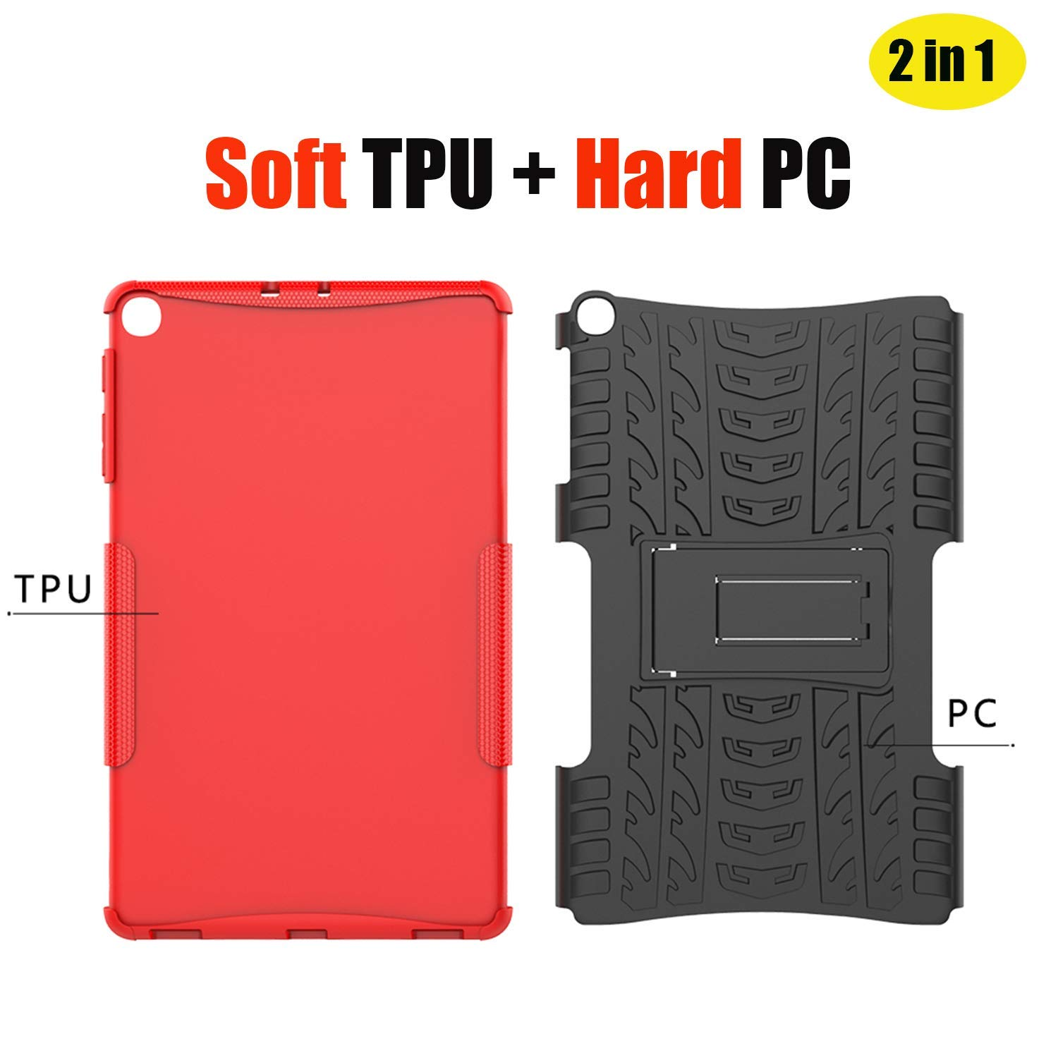 HoYiXi Samsung Galaxy Tab A 10.1 2019 Tablet Case Shockproof Tough Heavy-Duty Armor Case with Kickstand Anti-Drop Double Protective Cover for Samsung Galaxy Tab A 10.1 T510//T515 2019 Orange