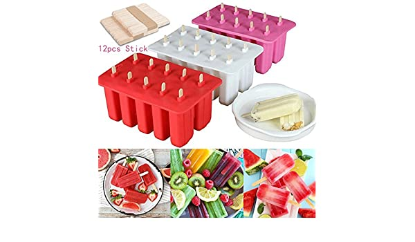 Hielo Pop Mold, auykoop 10 Cell Frozen Ice Cream Pop mold popsicle Maker Lolly Mould bandeja sartén cocina herramientas DIY con 12 Sticks: Amazon.es: Hogar