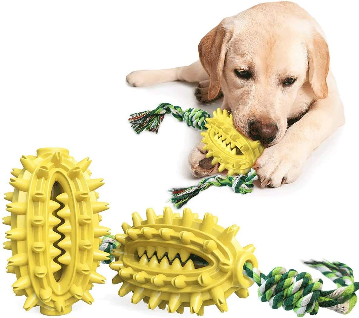 iBeazhu Dog Chew Toothbrush Toys with Teeth Cleaning and Food Dispensing Features, Dog Chew Toys for Chewer Cleaning, with Cotton Rope Interactive, Durable, Dog Toys for Large Medium Small Breed