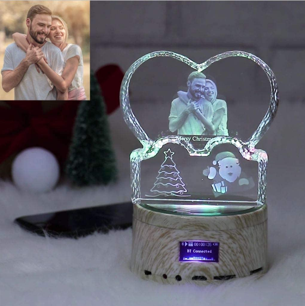 Creative Exclusive Photo Custom Crystal 3D Colorful Bluetooth Speaker Memorial Gift Crystal Love One Size