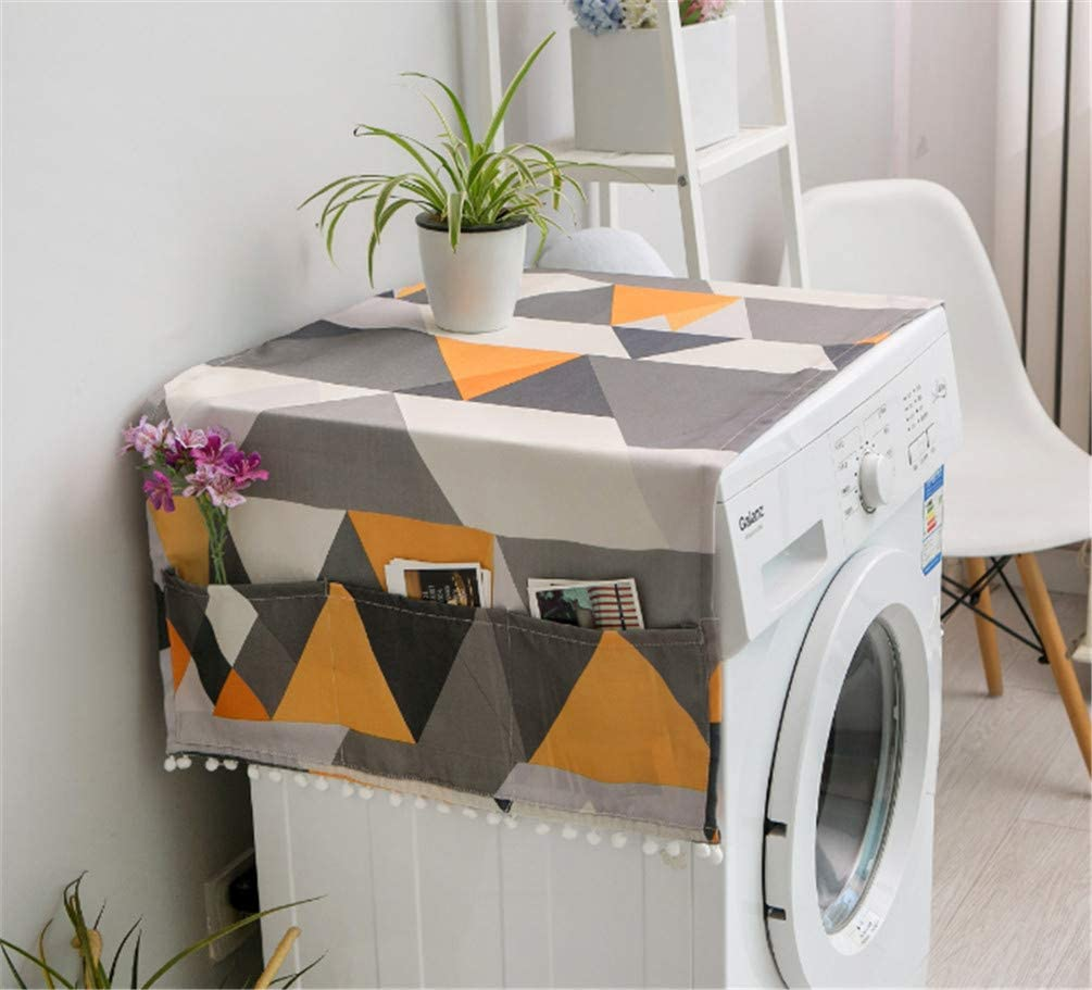 Mvchif Washing Machine Cover Dustproof Cotton Fridge Cover Decorative Top Load Cover with Side Storage Pockets 54x23inches (Yellow Lrge Triangle)