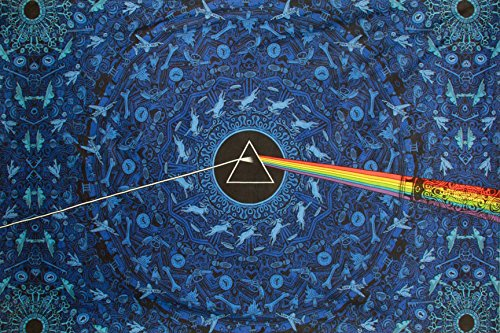 Sunshine Joy® 3D Pink Floyd Blue Lyrics Tapestry Wall Hanging Trippy Table Cloth Magical Dorm Decor - Huge 60x90 Inches